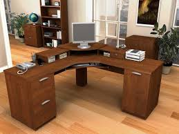 Wooden Corner Computer Desks For Home Furniture Home Office Furniture With Brown Stained Wooden Corner