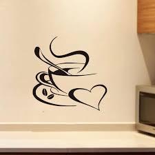 autocollant cuisine nouvelle arrivée café tasse silhouette sticker amovible mignon café
