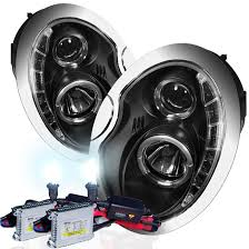 mini cooper 02 06 drl led projector headlights black with hid kit