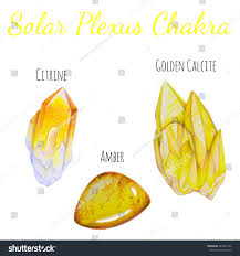 solar plexus crystals solar plexus chakra stones set close stock illustration 461842126