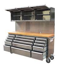 stainless steel workbench cabinets 1 8m wood top workbench tool chest trolley pegboard and cabinets