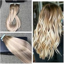goldie locks clip in hair extensions shine real human hair skin weft ombre color hair