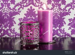 Purple Damask Wallpaper by Two Burning Purple Candles Against Ornate Stock Photo 120024631