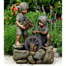 Patio Fountains Diy by Jeco Bronze Painted Children Outdoor Indoor Water Fountain Brown