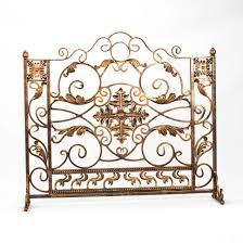 luxury golden polished wrought iron fireplace design with single