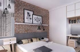 chambre tapisserie deco attraktive wandgestaltung schlafzimmer tapete ziegeloptik regale