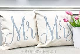 mr and mrs pillow canvas pillow cover painting workshop 1 for 40 2 for 65 ar