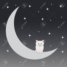 cat who sits on the moon royalty free cliparts vectors and