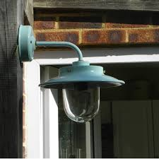 Industrial Guard Sconce outside wall light the burford belfast in seaspray blue with glass