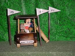 custom no golf with cart bride and groom wedding cake topper