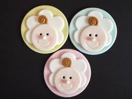 baby face fondant cupcake topper decoration baby shower