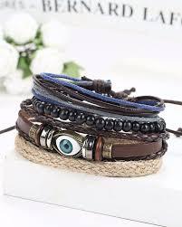 mens bracelet beads images Streetsoul bead evil eye multilayer leather beads stack of 4 pcs jpg