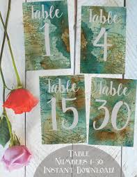 themed table numbers table numbers 1 30 printable vintage map travel themed weddings