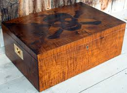 Tiger Maple Furniture Custom Made Cigar Humidor Made In Tiger Maple With Skull Motif By