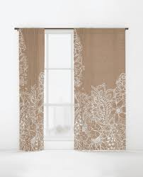 Beige And White Curtains Modern White Floral Illustration On Rustic Beige Faux