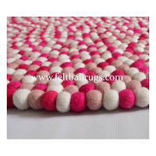 Buy Round Rug by Hot Pink Berry Round Felt Ball Rug Felt Ball U0026 Rugs