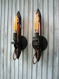 Industrial Wall Sconce Upcycled Weaving Shuttle Industrial Wall Sconce Lighting Pair Aftcra