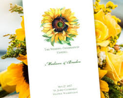 sunflower wedding programs sunflower program etsy