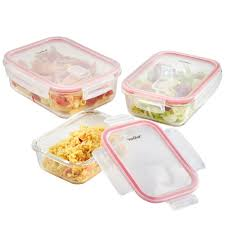 Food Storage Glass Containers Vonshef 3pc Rectangular Glass Container Set