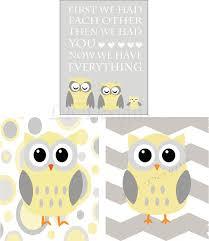 Grey And Yellow Nursery Decor by Owl Nursery Decor Woodland Nursery Prints Gender Neutral