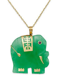 jade gold necklace images Dyed jade elephant pendant necklace in 14k gold 25mm necklaces tif