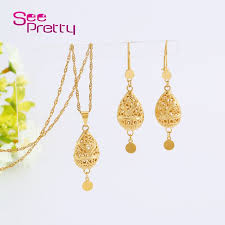 new fashion gold earrings seepretty new fashion gold jewelry set hollow women necklace