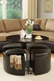 attractive round coffee table with storage ottomans best 10 design