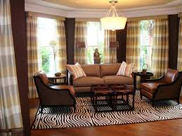 brown livingroom brown living room with plaid drapes jpeg for home decor curtains