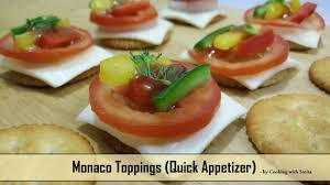 what does canape monaco toppings recipe by cooking with smita monaco cheesy bites