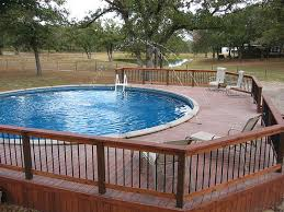 Above Ground Pool Ideas Backyard Large Backyard Pool In Above Ground Wooden Deck Part Of Swimming