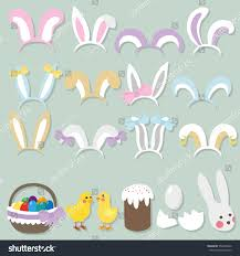 easter photo props happy easter photo booth props set stock vector 554459062
