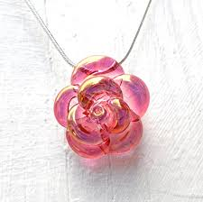 rose glass necklace images Pink rose necklace glass hand blown lampwork flower jpg