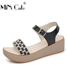 Comfortable Wedge Shoes Outdoor Women Slipper Female Handmade Pu Leather Women Comfortable