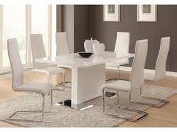 dining room upholstered chairs coaster modern dining 7 piece white table u0026 white upholstered