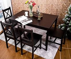 solid wood dining room tables amazon com merax 5 pc solid wood dining set 4 person table and