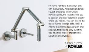 articulating kitchen faucet karbon articulating wall mount kitchen faucet