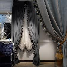 Window Tre Luxury Europe Style Italian Velvet Curtains With Valance Blackout