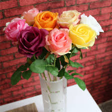 Silk Flower Arrangements For Office - 8 colors 1pc rose artificial flowers home office wedding