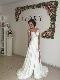 summer wedding dress sleeve a line chiffon summer wedding dresses split lace
