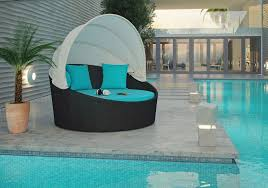 outdoor pool area daybed