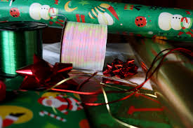 wrapping supplies christmas wrapping paper and ribbons picture free photograph