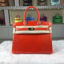 Orange Accessories Brand Hermes Style Birkin Bag30cm Material Crocodile Shiny