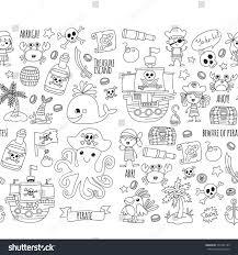 seamless pattern pirate party children kindergarten stock