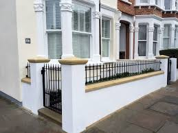 victorian black and white mosaic tile path front garden wall rail