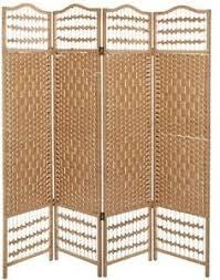 Folding Screen Room Divider 4 Panel Beige Wood Decorative Partition Folding Screen Room