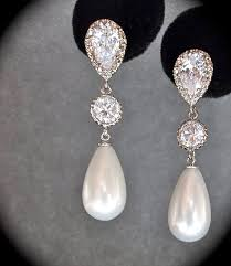 bridal drop earrings bridal jewelry sterling silver pearl drop earrings