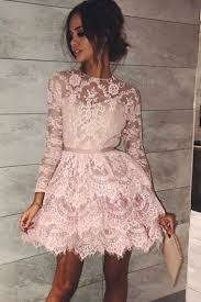 light pink short dress long sleeves homecoming dresses light pink homecoming dresses lace
