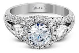 simon g engagement rings simon g halo cathedral engagement ring with pear accents