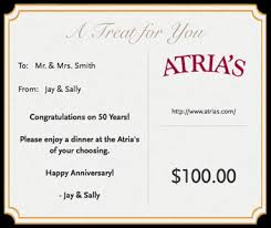 dinner and a gift card gift cards atria s restaurant