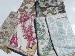 Upholstery Fabric Prints Lot Vintage Hand Prints Linen Cotton Decorator Upholstery Fabric